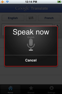 Google Translation iphone app
